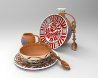 3d model plate spoon