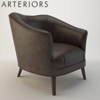 arteriors duprey settee armchair 3d model