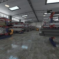 warehouse pipe rack 3d model