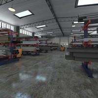 warehouse pipe rack 3d model