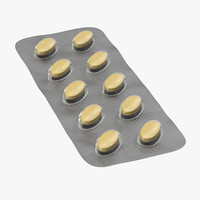 3d oval blister pill pack model