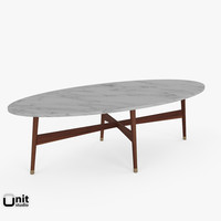handcrafted mid-century oval coffee table 3d model
