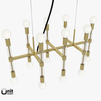 acrylic framework chandelier lights 3d model