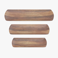 wooden serving rectangular plate 3d model
