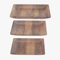 wooden serving square plate c4d