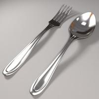 fork spoon 3d obj
