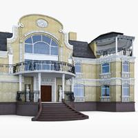3d art nouveau house exterior
