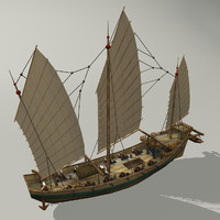 3d model chinese pirate junk sailboat