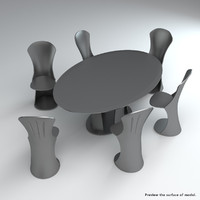3d model set acrylic chairs table