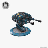 sci-fi turret gun low-poly obj