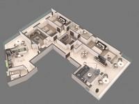 floor appartment 3d max