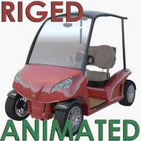 3d riged golf cart garia model