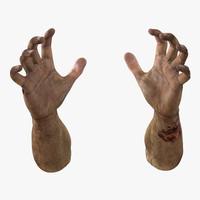zombie hands pose 5 3d obj