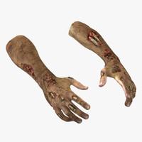 3d zombie hands pose 2 model