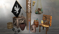 3d pirate props ship