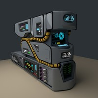 3d science fiction console