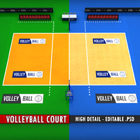 Volleyball court high detail low poly