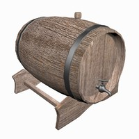 wooden beer barrel 3d obj