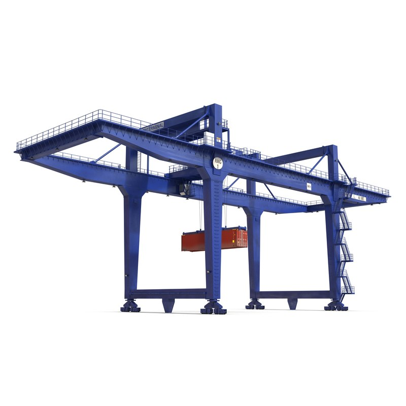 Rail Mounted Gantry Container Crane Blue and 40 ft ISO Container 3d models Set 02.jpg