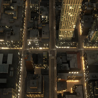 manhattan district 01 night 3d model
