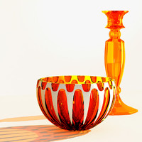 orange glass vase & orange glass candlestick