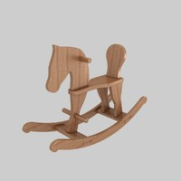 3d model wooden rocking horse toy