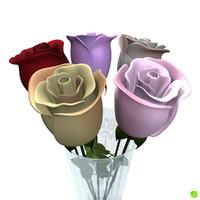 multicolor rose petals 3d obj