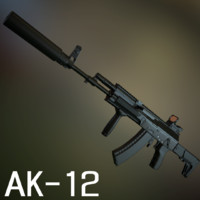russian assault rifle ak-12 3d model