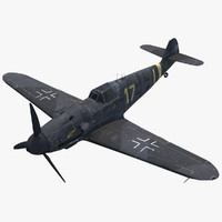 3d rigged fighter aircraft messerschmitt model