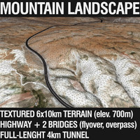 Mountain Terrain with Highway and Tunnel