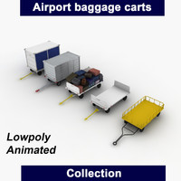 3d model airport baggage carts
