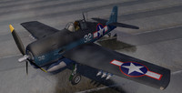 3d grumman f6f-3 hellcat fighter