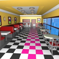 3d cartoon burger restaurant