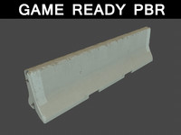 3d model concrete traffic barrier 01