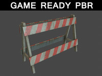 3d model barrier road 01