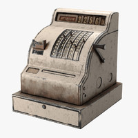 3d model old cash register