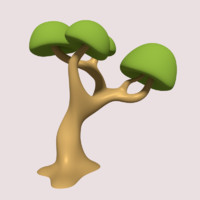 cartoon tree 3d obj