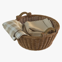 realistic wicker basket plaid max