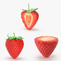 3d strawberry variation pack model