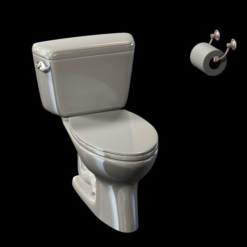 3d toilet close coupled model - Toilet model ...