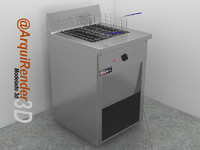 fryer restaurants 3d model