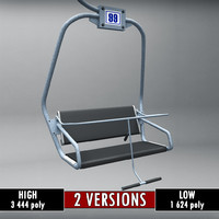 3d ski lift chair small