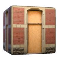 Brick and plywood window