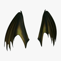 3d model green closed dragon wings