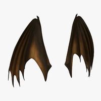 3d orange closed dragon wings model