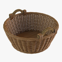 realistic wicker basket 3d obj