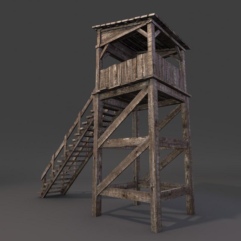 D model wooden guard tower