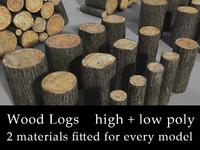 3d model wooden logs
