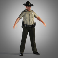 3d model county police officer