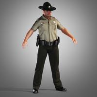 county police officer 3d obj